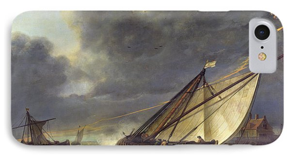 Boats In The Estuary Of Holland Diep In A Storm IPhone Case