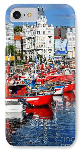 Boats In The Harbor - La Coruna IPhone Case by Mary Machare