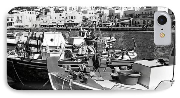 Boats In The Mykonos Harbor Mon IPhone Case by John Rizzuto