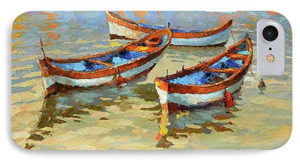 IPhone Case featuring the painting Boats In The Sunset by Dmitry Spiros