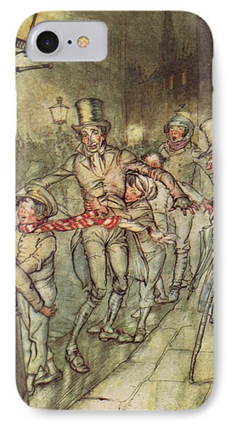 Bob Cratchit Went Down A Slide On Cornhill IPhone Case by Arthur Rackham