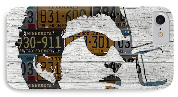 Bob Dylan Minnesota Native Recycled Vintage License Plate Portrait On White Wood IPhone Case by Design Turnpike