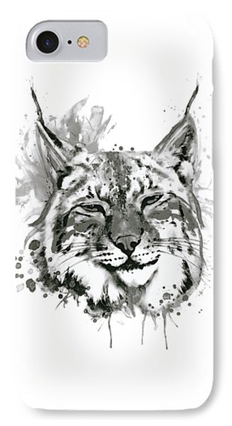 Bobcat Head Black And White IPhone Case by Marian Voicu