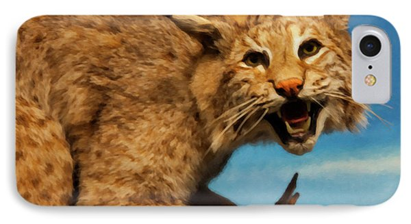 Bobcat On A Branch IPhone Case by Chris Flees