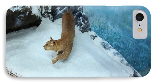 Bobcat On A Mountain Ledge IPhone Case by Chris Flees
