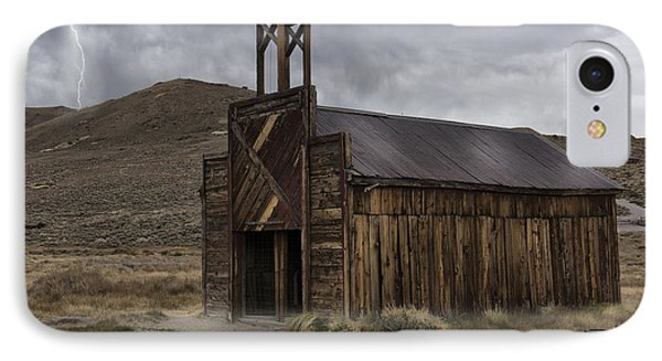 IPhone Case featuring the photograph Bodie Fire Station With Lightning by Sandra Bronstein