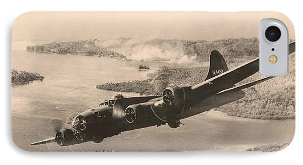 Boeing B-17 Bomb Run 1944 IPhone Case by Paul Clinkunbroomer