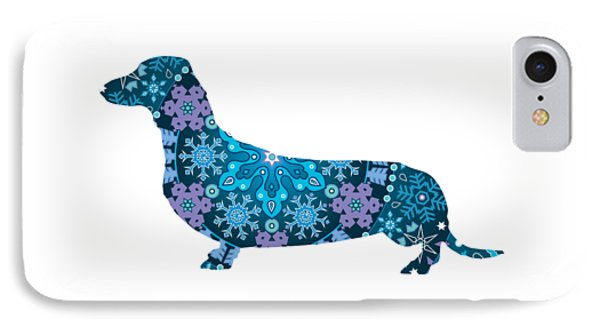 Bohemian Blue Dachshund IPhone Case by Lisa Crisafi