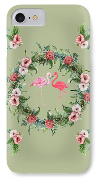 IPhone Case featuring the digital art Boho Floral Tropical Wreath Flamingo by Georgeta Blanaru