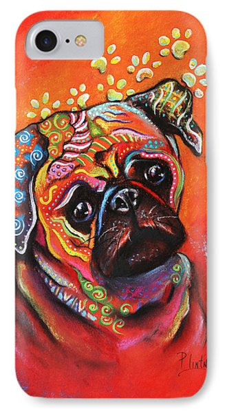 IPhone Case featuring the mixed media Pug by Patricia Lintner