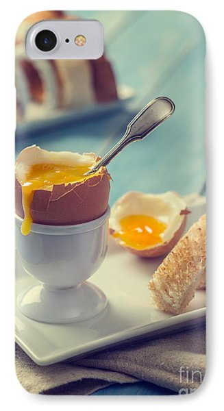 Boiled Egg With Spoon IPhone Case by Amanda Elwell