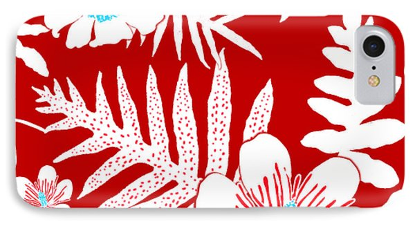 Bold Fern Floral - Red IPhone Case