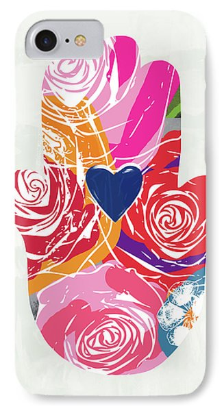 Bold Floral Hamsa- Art By Linda Woods IPhone Case by Linda Woods