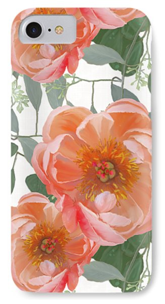Bold Peony Seeded Eucalyptus Leaves Repeat Pattern IPhone Case by Audrey Jeanne Roberts