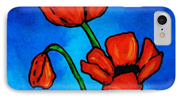 Bold Red Poppies - Colorful Flowers Art IPhone Case by Sharon Cummings