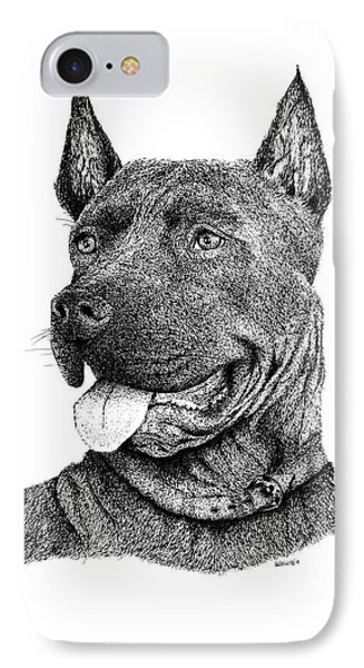 Bolo Black And White Drawing With Pen And Ink Of A Dog IPhone Case by Mario Perez