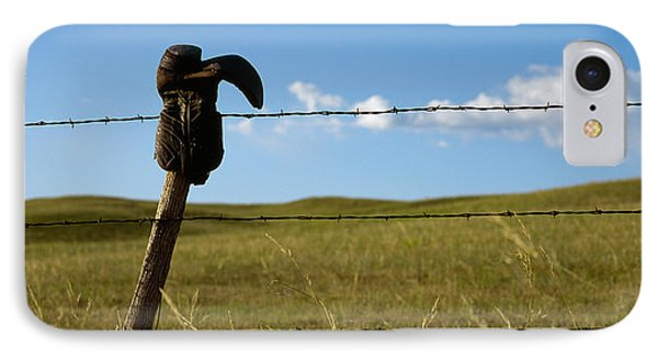 Boot And Barbed Wire Fence Ne IPhone Case by Panoramic Images