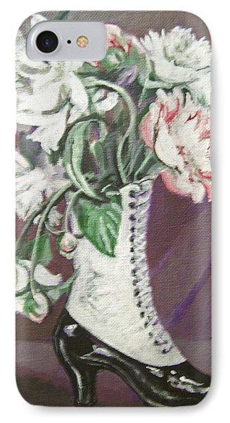 IPhone Case featuring the painting Booted Peonies by Laura Aceto