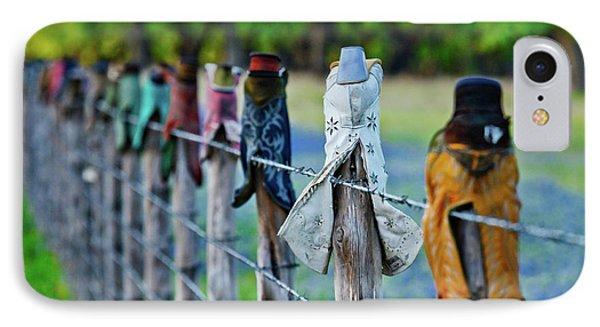 IPhone Case featuring the photograph Boots On The Fence by Linda Unger
