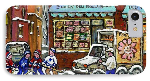 Borden's Milkman Delivery Truck At Richstone's Bakery Montreal Hockey Paintings Best Canadian Art  IPhone Case by Carole Spandau