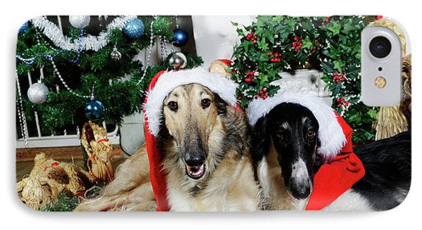IPhone Case featuring the photograph Borzoi Puppies Wishing A Merry Christmas by Christian Lagereek