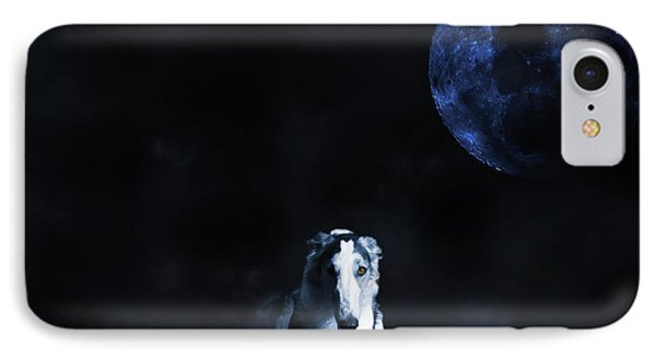 Borzoi Wolf-hound, Hunting Under A Full Moon IPhone Case by Christian Lagereek
