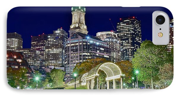 Boston Above Christopher Columbus Park IPhone Case by Frozen in Time Fine Art Photography