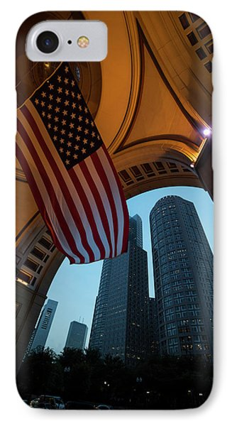 Boston American Flag Two International Place IPhone Case by Toby McGuire