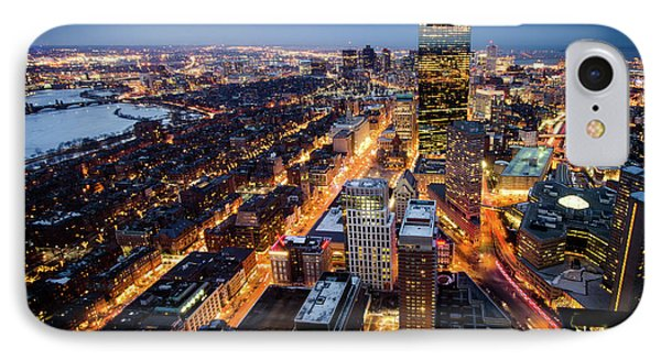 Boston At Night IPhone Case by Michael Weber