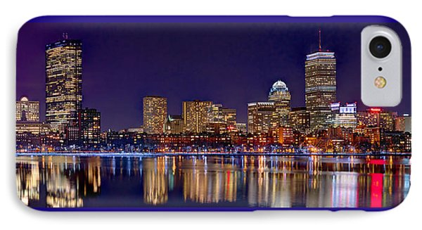IPhone Case featuring the photograph Boston Back Bay Skyline At Night 2017 Color Panorama 1 To 3 Ratio by Jon Holiday