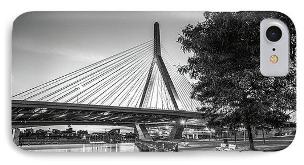 Boston Bunker Hill Bridge At Night Black And White Picture IPhone Case by Paul Velgos