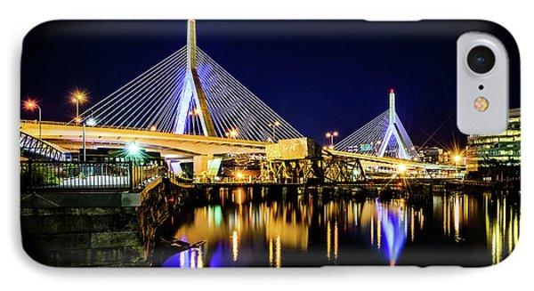 Boston Bunker Hill Zakim Bridge At Night Photo IPhone Case by Paul Velgos