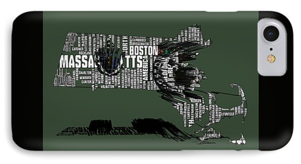 Boston Celtics Typographic Map 3a IPhone Case by Brian Reaves