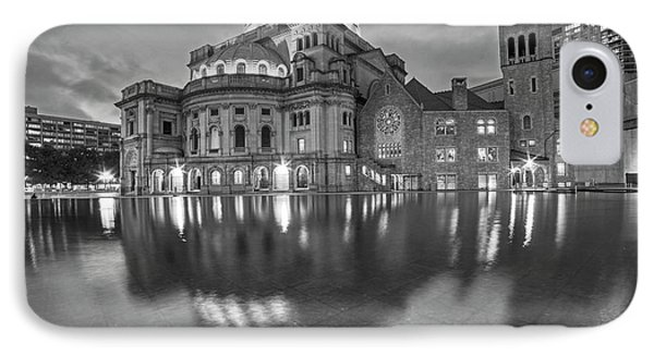 Boston Christian Science Building Reflecting Pool Black And White IPhone Case by Toby McGuire