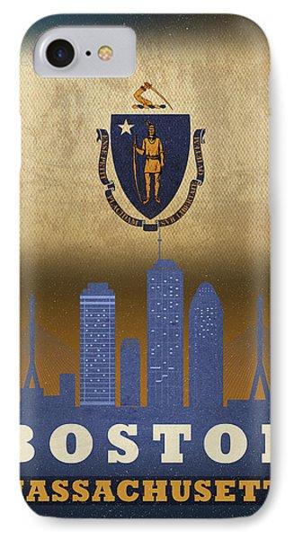 Boston City Skyline State Flag Of Massachusetts Art Poster Series 016 IPhone Case by Design Turnpike
