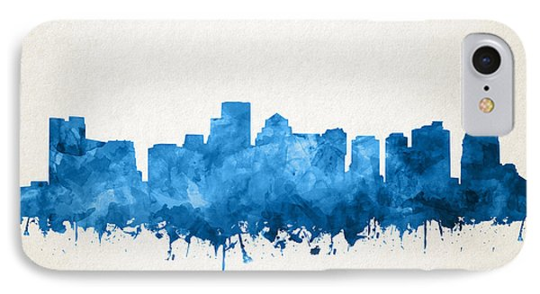 Boston City Skyline Watercolor 11 IPhone Case by Bekim Art