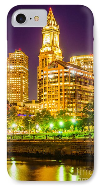 Boston Cityscape At Night IPhone Case by Paul Velgos