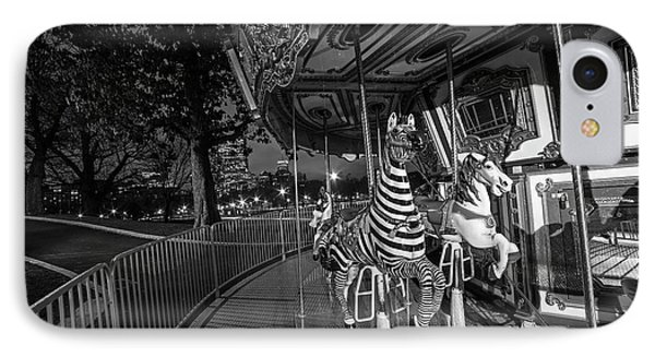 Boston Common Carousel Boston Ma Black And White IPhone Case by Toby McGuire