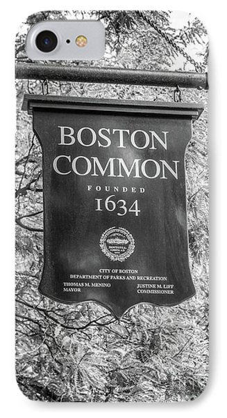 Boston Common Sign Black And White Photo IPhone Case by Paul Velgos
