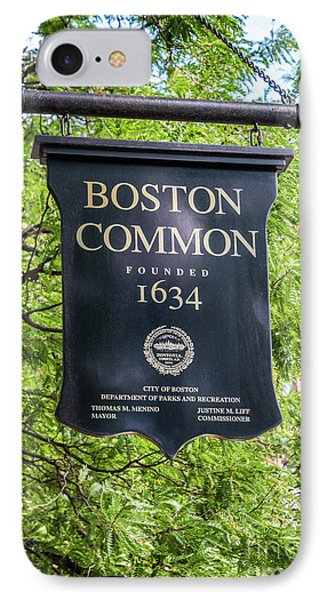 Boston Common Sign Photo IPhone Case by Paul Velgos
