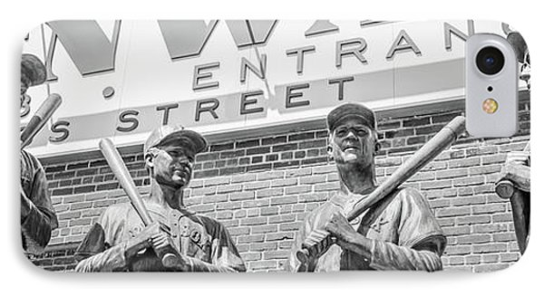 Boston Fenway Park Sign And Four Bronze Statues IPhone Case by Paul Velgos