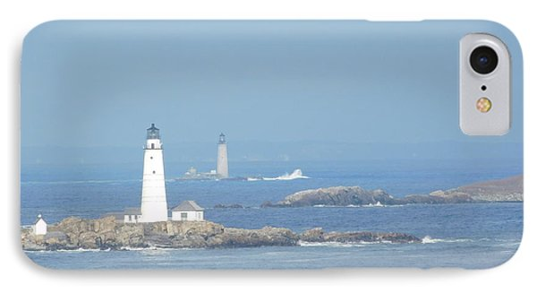 Boston Harbor Lighthouses IPhone Case by Catherine Gagne