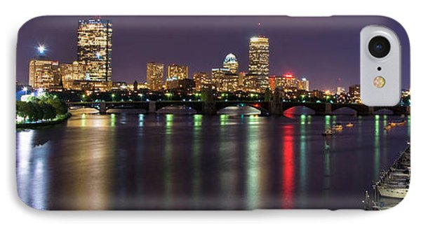 Boston Harbor Nights-panorama IPhone Case by Joann Vitali