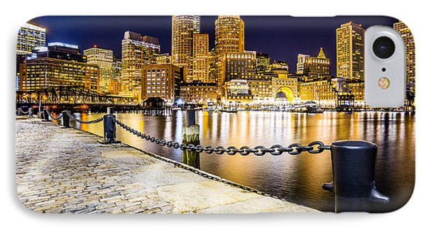 Boston Harbor Skyline At Night Picture IPhone Case by Paul Velgos