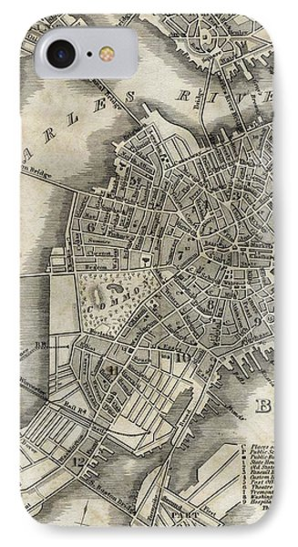 Boston Map Of 1842 IPhone Case by George Pedro