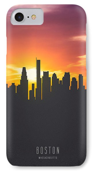 Boston Massachusetts Sunset Skyline 01 IPhone Case by Aged Pixel
