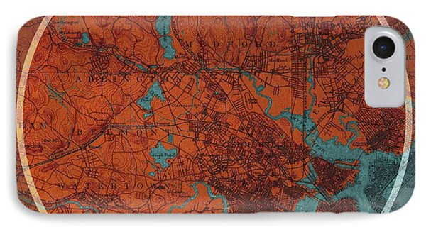 Boston Old Map IPhone Case by Pablo Franchi