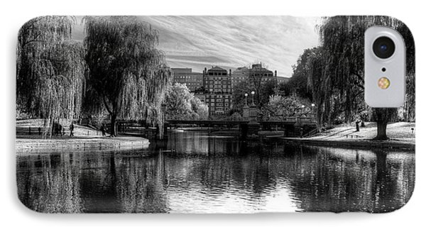 Boston Public Garden Autumn Trees Boston Ma Black And White IPhone Case by Toby McGuire