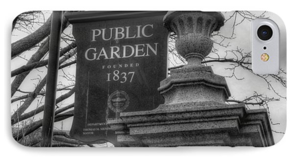 Boston Public Garden - Black And White Square IPhone Case by Joann Vitali