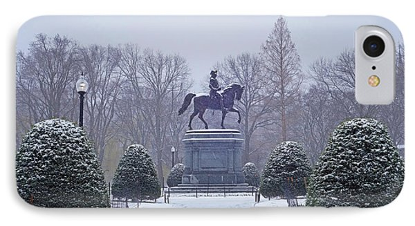 Boston Public Garden Boston Ma Winter Snow IPhone Case by Toby McGuire